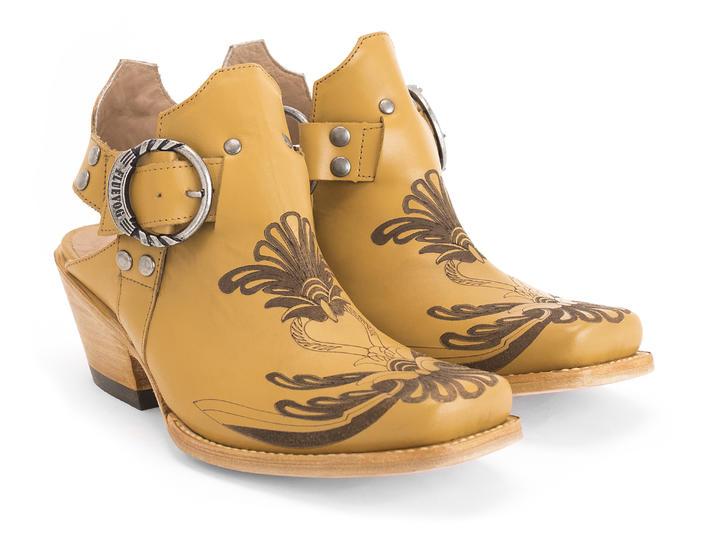 Loretta Mustard Western slingback heel