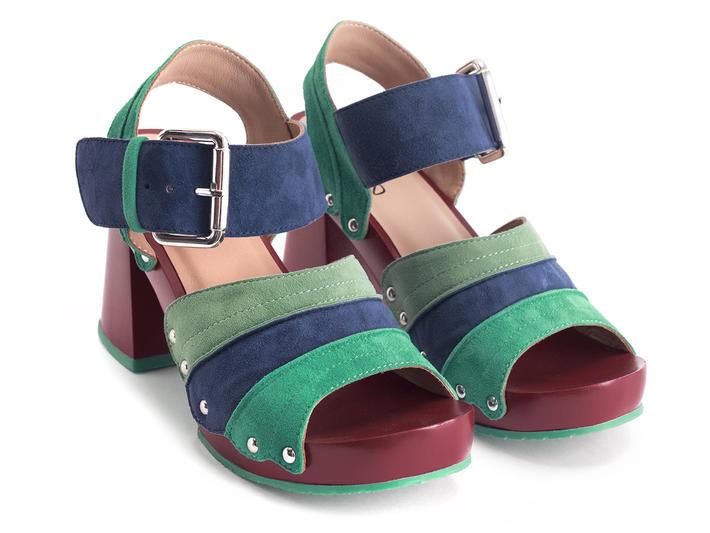 Dashuri Green/Blue Platform clog sandal