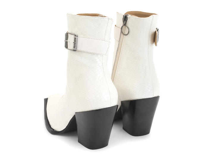 Cubist Cupcake White Snake Lace-up ankle boot with buckle