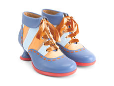 Investigator Blue/Orange Striped Collared lace-up ankle boot
