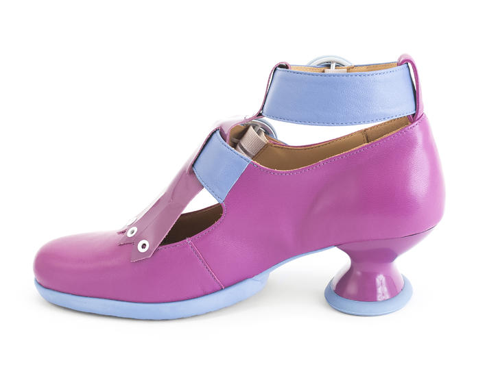 Individualist Purple Ankle strap heel with kiltie