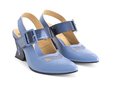 Bolt Blue Geometric slingback heel