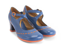 Malibran Blue/Orange Criss-crossed Mary jane Heel