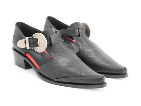 Articulate Black Buckled t-strap shoe