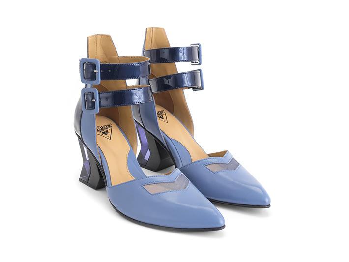 Slant Blue Ankle strap heel