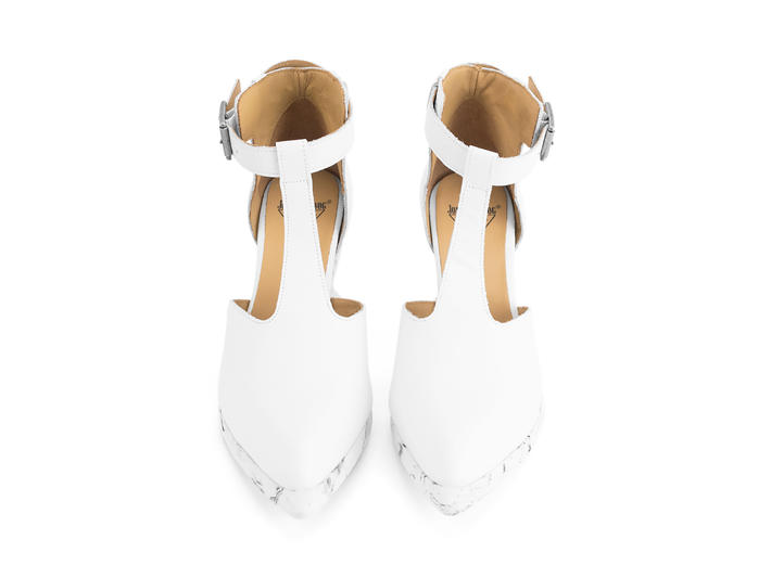 Zoomies White T-strap wedge heel