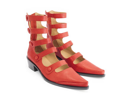Complex Red Strappy ankle boot
