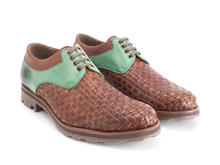 Danice Brown/Green Woven leather derby
