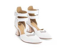 Slant White Ankle strap heel