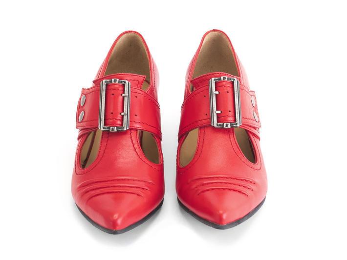 Pilgrim Lipstick Buckled Victorian loafer