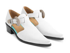 Articulate White Buckled t-strap shoe