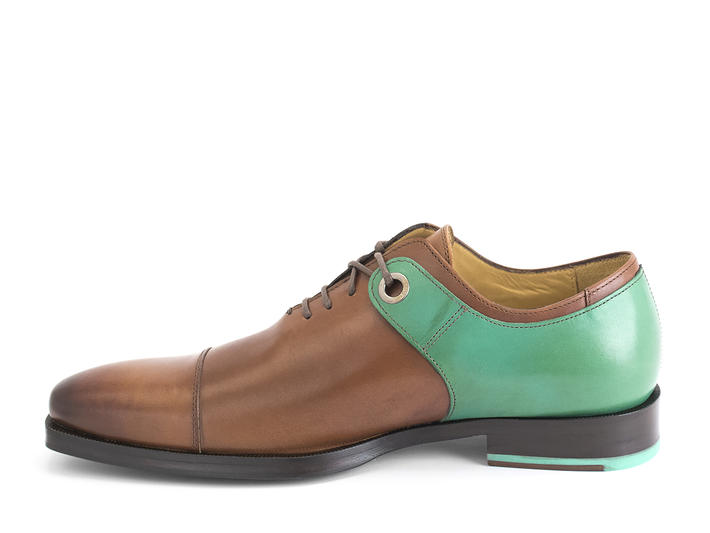 Spitfire Brown/Teal Capped toe oxford with burnish