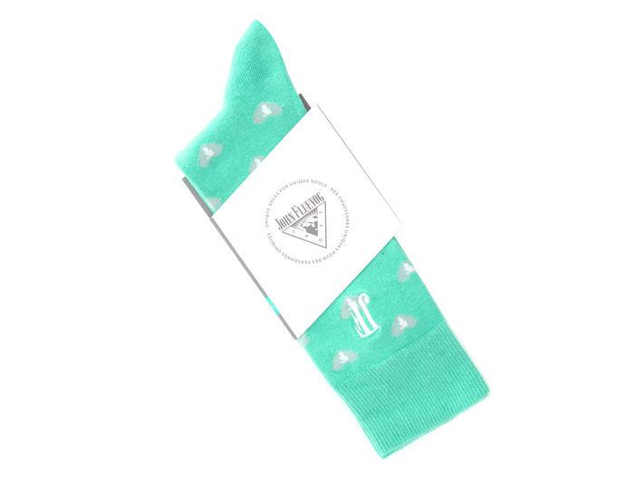 Fine Vog Socks Teal Sock with hearts