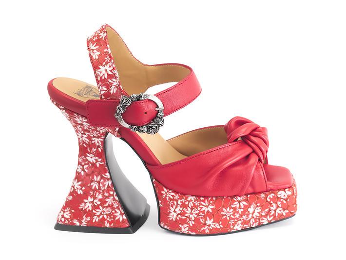 Deee Red Knotted platform sandal