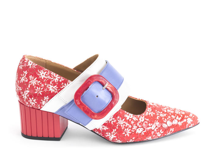 Felicity Red Floral Vintage-inspired mary jane