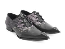 Lestat charcoal alligator Bumped toe lace-up shoe