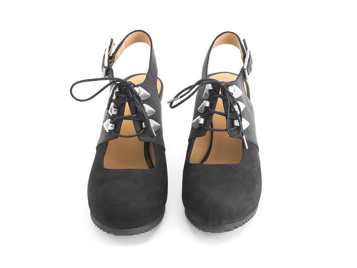 Zenobia Black Slingback wedge heel