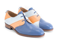 Manhattan: Women's Blue/Orange Striped Asymmetrical derby shoe