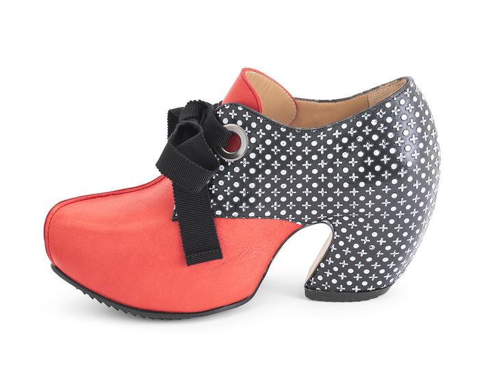 Pledge Berry/Dots Lace-up platform heel
