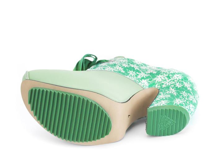 Pledge Green Lace-up platform heel