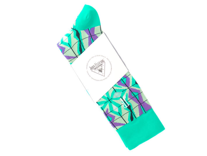 Cerebral Vog Socks Green Geometric knit sock