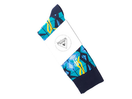 Cerebral Vog Socks Blue Geometric knit sock