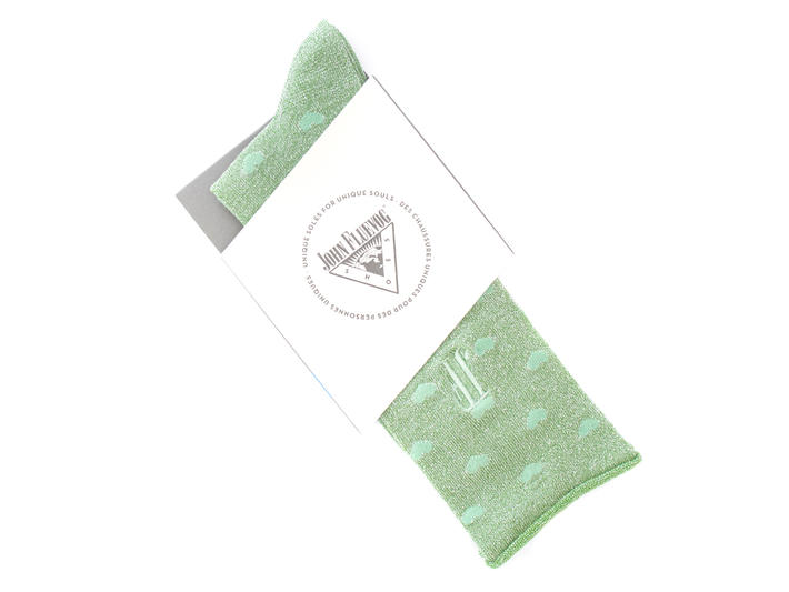 Bonnie Vog Socks Green Patterned metallic sock