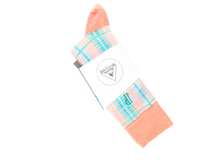 Blaze Vog Socks Orange Tartan knit sock