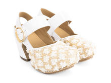 Guide White/Raffia Platform Mary Jane Heel
