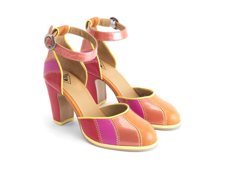 Bianca Pink Contrast ankle strap heel