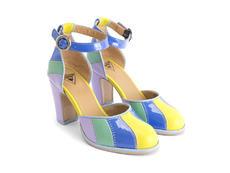 Bianca Blue Contrast ankle strap heel