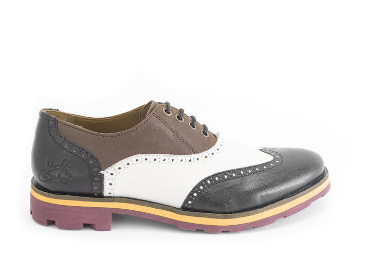 Andrew Brown/White/Black Wingtip Brogue Shoe