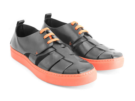 Punch Buggy Black Woven sneaker sandal
