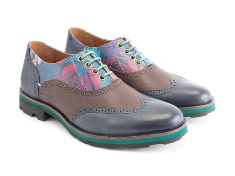 Andrew Floral/Brown/Blue Wingtip Brogue Shoe