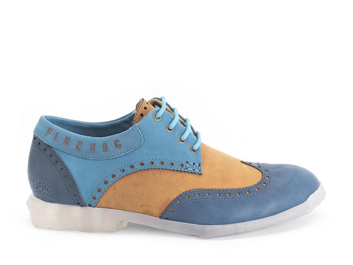 Orbit Light Blue/Brown Brogued Wingtip Derby