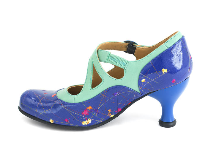 Pearl Hart Blue Floral Criss-crossed mary jane heel