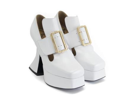 Elektra White Platform t-strap heel