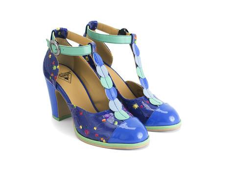 Zelda Blue Floral Appliqué T-strap heel