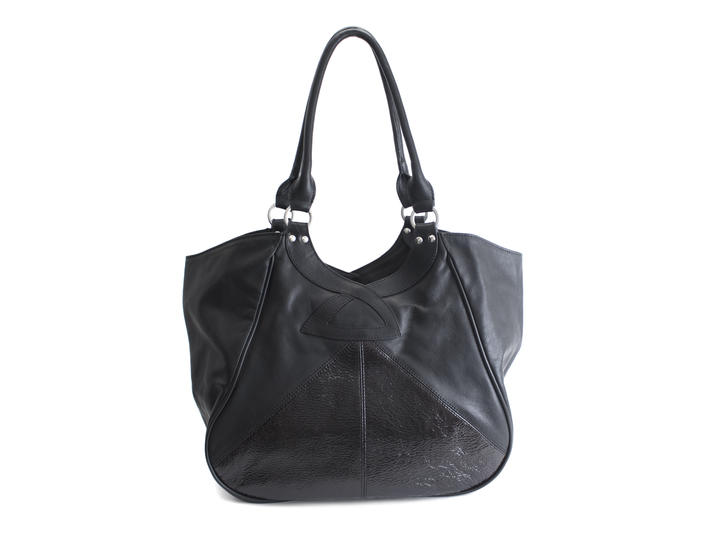 Twist Tote Black Contrast tote with patent