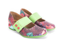 Cleo Floral Buttoned mary jane flat