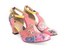 Rigel Floral T-strap heel with embroidery