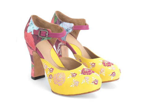Flora Yellow/Floral Platform heels with embroidery