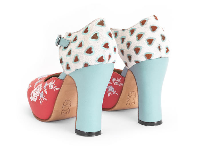 Flora Blue/Red/Hearts Platform heels with embroidery