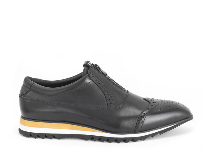 Nick Black Brogued oxford sneaker