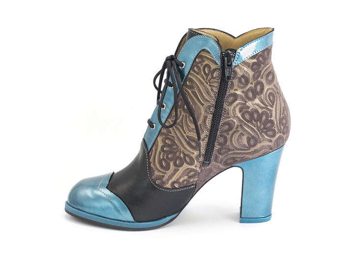Carmen Embossed Scalloped lace-up ankle boot