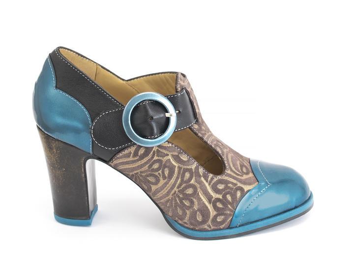 Ilona Embossed Contrast t-strap heel