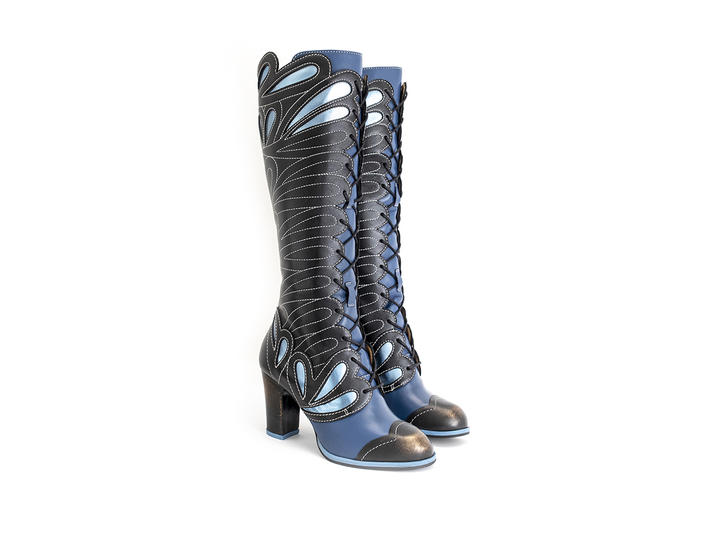 Elita - Black/Blue | Tall lace-up boot