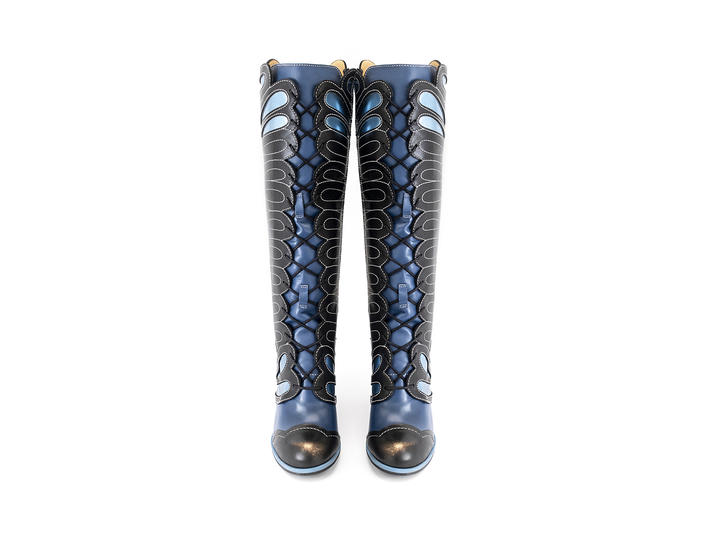 Elita Black/Blue Tall lace-up boot