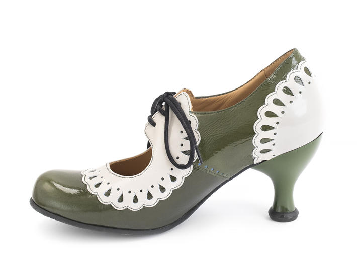 Lottie Deno Green Mary Jane with frilled edges