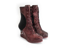 Safia Red Lace-up wedge boot